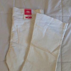 White Bootcut Frayed Hem Jeans